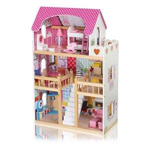 Baby Vivo Casa de Muñecas de Madera con Miniatura Muebles Escalera Ascensor Sueño Mansion para los Niños - Rosalie