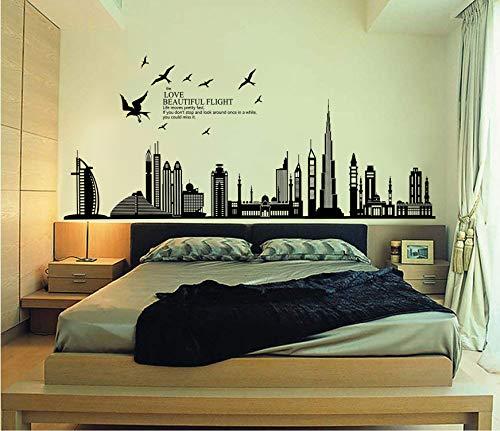 ufengke Città Nera Silhouette Paesaggio Urbano Grattacielo Adesivi Murali, Camera da Letto...