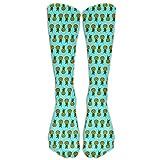 Kaixin J Men's Women's Novelty Pineapple Light Turquoise Long Sock Athletic Calf High Crew Soccer Socks Sports