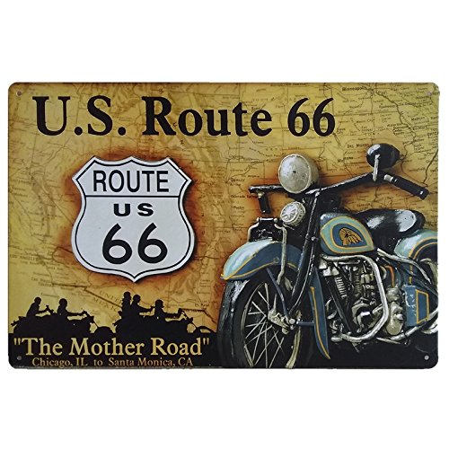 Ruta 66 Decoración Pared ✔️ Placa Decorativa Vintage Route ✔️ Cartel Chapa Póster