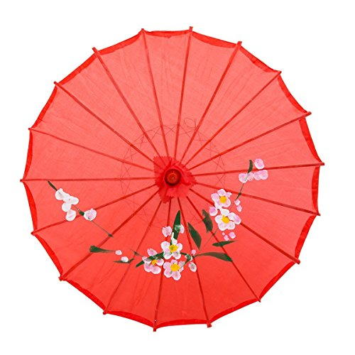 """Lewano 33"""" Japanese Chinese Umbrella Parasol for Wedding Parties, Photography, Costumes, Cosplay, Decoration - (Red)"""