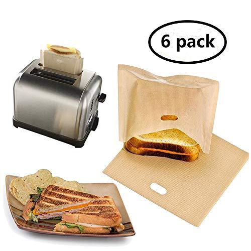 Eatronchoi antiaderente tostapane sacchetti (6 pack), riutilizzabili, resistente al calore e facile...