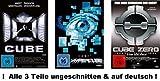 Cube 1-3 dvd Set uncut, Cube + Hypercube & Cube Zero, I, II, III, 1,2,3, alle Teile