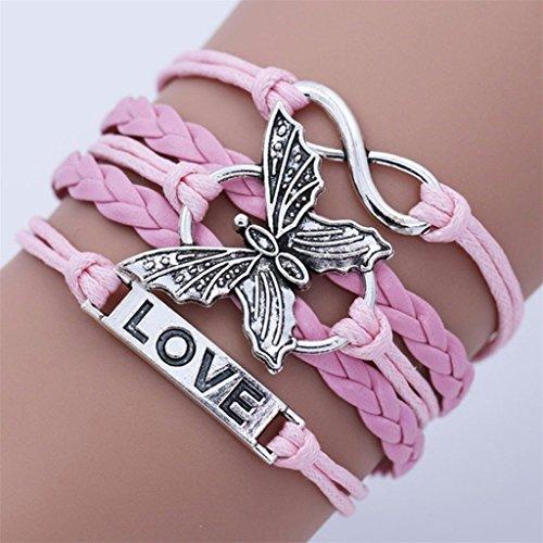 yipinco7285hecho a mano Vintage pulsera Mariposa Multi capa cadena joyería mujer talla única rosa