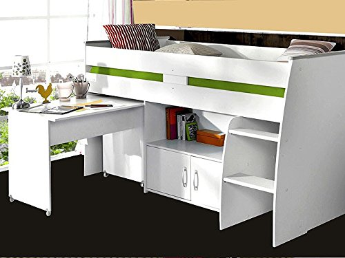 expendio Hochbett Rean 1 204x110x177cm weiß Kinderbett Schreibtisch Kommode Kinderzimmer Bett