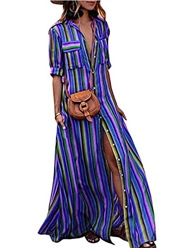 ASSKDAN Femme Maxi Longue Robe de Plage Robe de Vacances Bohème Multicolore Col V Sexy Robe Rayé Occasionnel