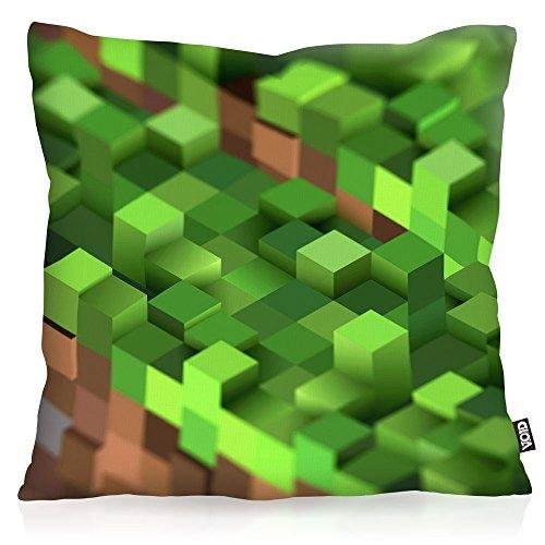 VOID Mine Cube Cojín con relleno 28 × 28 cm funda de algodón bloque dado cubo videojuego game, Kissen Größe:50 x 50 cm