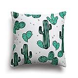 Funda Cojin Cactus Diseño Verde Agua Con Lineas Negras