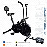 Reach Ab-110 Air Bike Exercise Fitness Gym Cycle with Moving/Stationary Handle Adjustment with Back Support & Twister (Multi-Color)