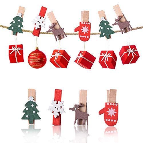 Gudotra Kit 120pz Natale Mollette in Legno + 10 Metri Filo Juta per Foto Fai da Te 4 Modelli Albero di Natale Fiocchi di Neve Alci Calze di Natale