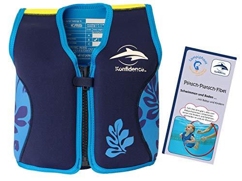 Lampiphant® + Original Konfidence Kinder-Schwimmweste aus Neopren, 4-5 Jahre, Blaue Blätter, mit Plitsch-Platsch-Fibel