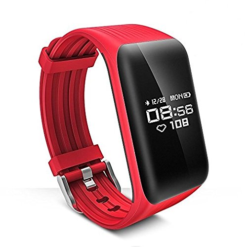 WEARFIT K1 Fitness Tracker Watch IP68 Waterproof Activity Wireless Smart Bracelet with Continuous Heart Rate Monitor Step Calorie Sleep Counter Bluetooth Wristband Pedometer Sports Smart Band (Red)