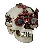 Rosso e Bianco Gearhead Steampunk Skull statue W/Secret Stash cassetto