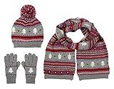 i-Smalls Women's Christmas Tree Print Bobble Hat & Scarf Set