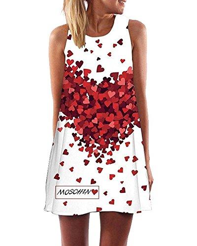 Minetom Mujer Mini Vestido Moda Atractiva Dress Cuello Redondo Sin Tirantes Dress Guay Verano Sin Mangas Beachwear Playa Chaleco Impreso Preciosos Hermoso Corazón ES 38