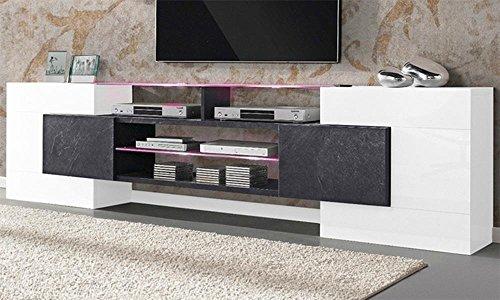 Dublino mobile porta tv madia. Bianco vetro e finitura pietra. Dimensioni L 241,6 x P 35 x H 62