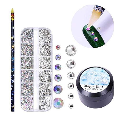 FOONEE Cristales de Uñas Tamaños Mixtos con Lápiz Selector y Pegamento en Gel, Cristal Brillante AB Piedras de Rhinestones para 3D Arte de Uñas Decoración DIY Manualidades