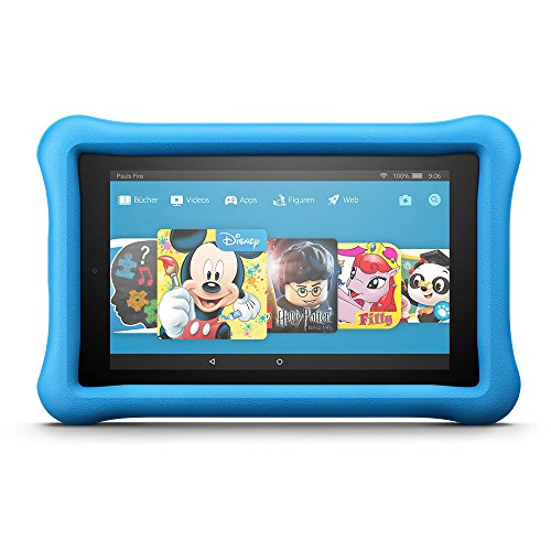 Fire 7 Kids Edition-Tablet, 17,7 cm (7 Zoll) Display, 16 GB, blaue kindgerechte Hülle
