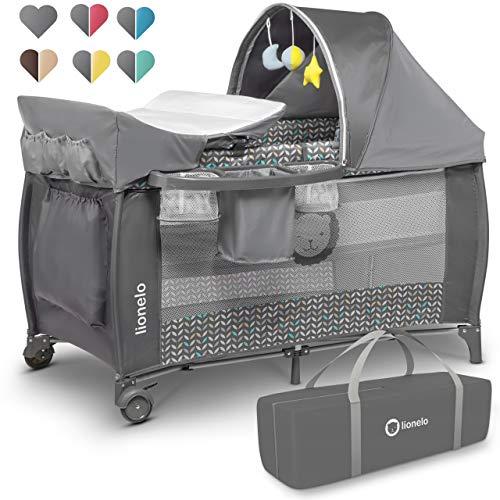 Lionelo Sven Plus 2in1 Reisebett Baby Laufstall Baby ab Geburt bis 15kg, Moskitonetz, Tragetasche, zusammenklappbar (Grey Scandi)