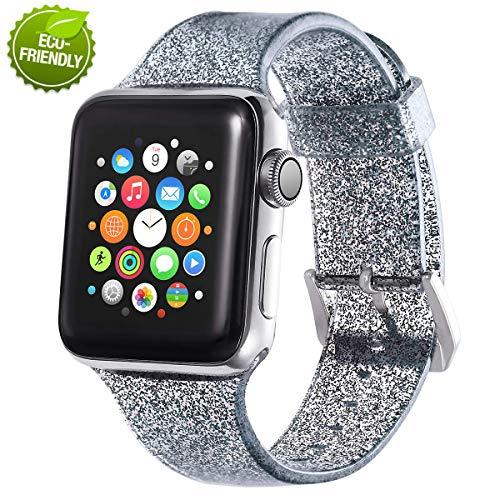 PMAX - Cinturino di ricambio per orologio Apple Watch, 38 mm, 42 mm, 40 mm, 44 mm, in silicone morbido, compatibile con iWatch serie 1, 2, 3, 4, 5, ecologico