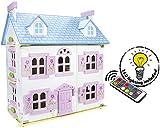 Edición Navidad 2019 Villa Sueño Mansion Casa de Muñecas de Madera Muebles Mobiliario Bella Casita Residencia de Piso Equipo Completo Excelente Calidad Accesorios adicionales Color Rosa