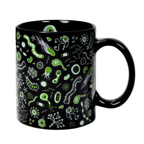 Taza mug desayuno de cerámica negra 32 cl. Modelo Bacterias