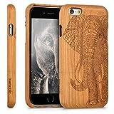 kwmobile Funda para Apple iPhone 6 / 6S - Carcasa de [Madera] para móvil - Case Trasero [Duro] con diseño de Elefante Tallado