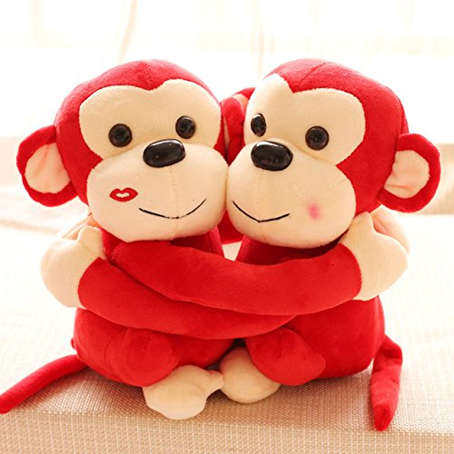Richy Toys Monkey's Cuddly Couple Soft Toys Plush Stuffed Teddy Bear for Kids Birthday Gift (Red)