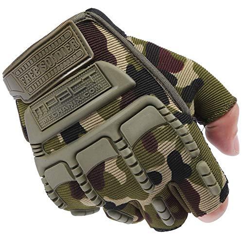 Gracorgzjs da uomo militare Outdoor Tactical softair Combat bicicletta mezze dita guanti, Camouflage