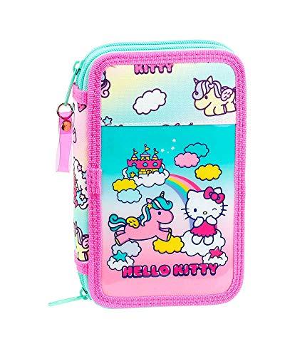 Hello Kitty Candy Unicorns - Astuccio per la scuola ufficiale con 28 pezzi, 125 x 40 x 195 mm