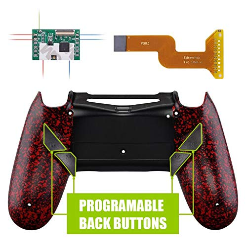 eXtremeRate Dawn Programable Remap Kit Reasignación de Botones para Playstaion 4 con Mod Chip & Carcasa Trasera diseñada & 4 Botones Posterior Compatible con PS4 JDM 040/050/055 Salpicaduras Rojas