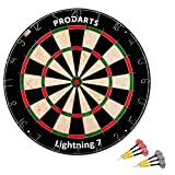 Dartscheibe Leightning 7 - Turniermaße: 451 mm Durchmesser, 38 mm Dicke - A-Klasse Sisal Bristle Round Wire Dartboard - Plus: Darts, Regelheft & Montagesatz kostenlos