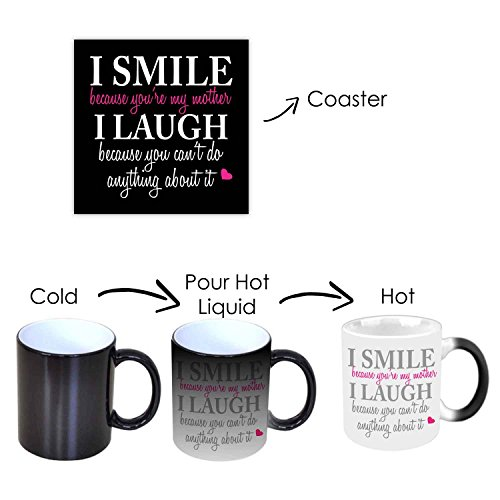 YaYa cafe I Smile I Laugh Ceramic Magic Mug and Coaster as Mother's Day Gifts for Mom, 330ml(Black) - Set of 2