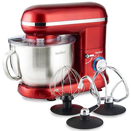 VonShef Robot Pâtissier Robot Petrin Cuisine Multifonctions 800W - Bol de 3,5 L avec dispositif anti-éclaboussures - Livré avec fouet batteur, fouet ballon et crochet de pétrissage - Rouge