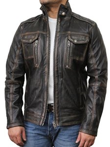 Vintage schwarze Herren Bikerjacke aus Leder 4