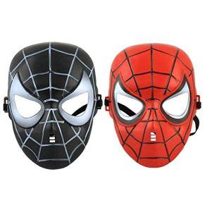 Gerzely Milagrosa Juego Película Integral Máscara Papel Social, El Capitán América 3 del Traje Cosplay De La Máscara del Hombre Araña A La Animación Halloween Unisex con La Araña Imprimir,Black&Red