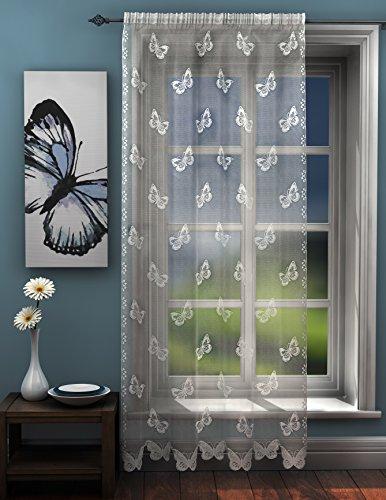 Diseño de mariposas encaje cortina de mariposas cortina de gasa 142,24 cm x 213,36 cm Drop (142 cm x 214 cm) aprox planas para m diseño tradicional en la parte superior para cortinas de ojales para puerta