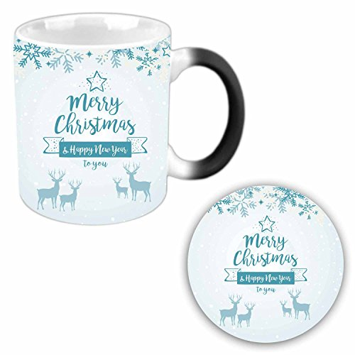 YaYa cafe Merry Christmas and Happy New Year 2018 Ceramic Magic Mug with Coaster for Kids (Multicolored)