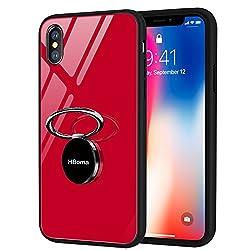 Kaufen HBorna iPhone X Hülle,Kratzfest Gehärtetes Glas Rückschale Schutzhülle & Schutzfolie TPU Bumper mit 360 Grad drehbarer Ring Ständer for Apple iPhone X, iPhone 10 (Rot)