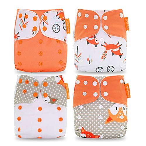 HahaGo Pannolini per bambini lavabili riutilizzabili per Inserisci pannolino tascabile all-in-one per la maggior parte dei neonati e bambini piccoli (4 pezzi, motivo volpe arancione)