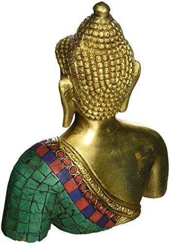 ShalinIndia Busto de Buda Estatua Latón Metal Budista de colores decoración 7,5pulgadas 4