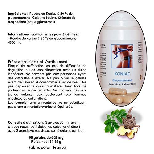 KONJAC | Modérateur d'Appétit | Brûleur de Graisse et Coupe-Faim à Base de Konjac à 80% de Glucomannane | 605mg | Efficace Pour Maigrir Faci... 6
