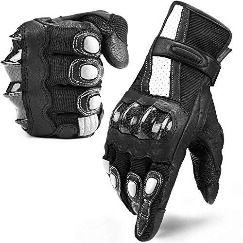 INBIKE Guanti Moto Pelle di Capra Touchscreen Protezione Antiscivolo Sportivo (Nero&Bianco,L)