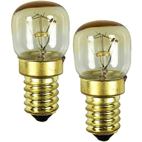 COM-FOUR 2x luce del forno fino a 300 gradi, chiaro, lampadina da cucina 15W, E14, SES, 230V, EEK =...