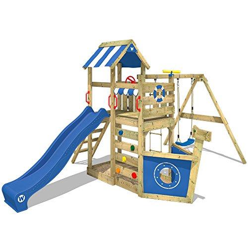 WICKEY Aire de jeux SeaFlyer Portique de jeux en bois avec balançoire, mur d'escalade, échelle de corde, bac à sable et accessoires, toboggan bleu