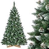 FairyTrees Árbol de Navidad Artificial Pino, Natural Blanco nevado, Material PVC, piñas verdaderas, Soporte de Madera, 220cm, FT04-220