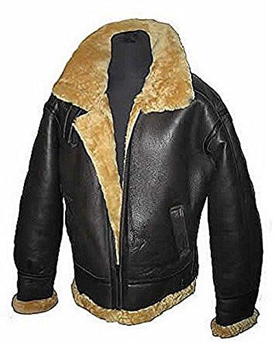 Aviator Ginger Marrone B3 reale Shearling Montone Bomber in pelle Flying jacket pilota Uomo (XL)