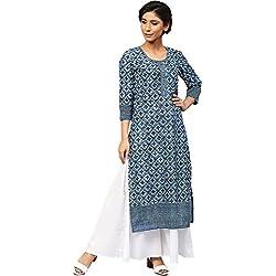 Amayra Women Cotton Blue Printed Straight Kurti(Large,Blue)