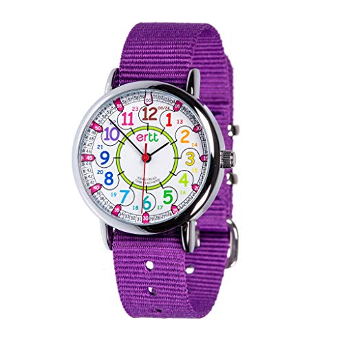 Easyread Time Teacher erw-col-24,orologio Rainbow 12-24, Purple, 1