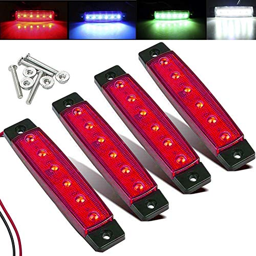 Electrely 4 Pezzi Luci di posizione laterali indicatori laterali per rimorchio, 12V 6 LED, universali per rimorchio, camion, caravan, camper, trattore, bus (rosso)